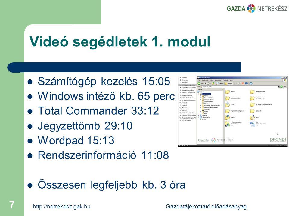 http://netrekesz.gak.huGazdatájékoztató előadásanyag 7 Videó segédletek 1.