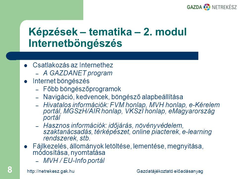 http://netrekesz.gak.huGazdatájékoztató előadásanyag 9 Képzések – tematika – 2.