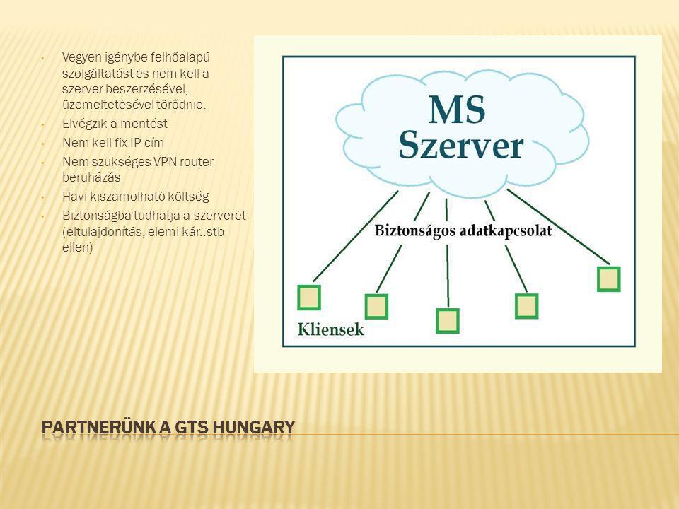 • Vegyen igénybe felhőalapú szolgáltatást és nem kell a szerver beszerzésével, üzemeltetésével törődnie. • Elvégzik a mentést • Nem kell fix IP cím •