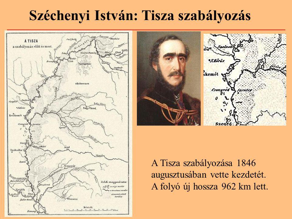 Széchenyi István: Tisza szabályozás A Tisza szabályozása 1846 augusztusában vette kezdetét. A folyó új hossza 962 km lett.