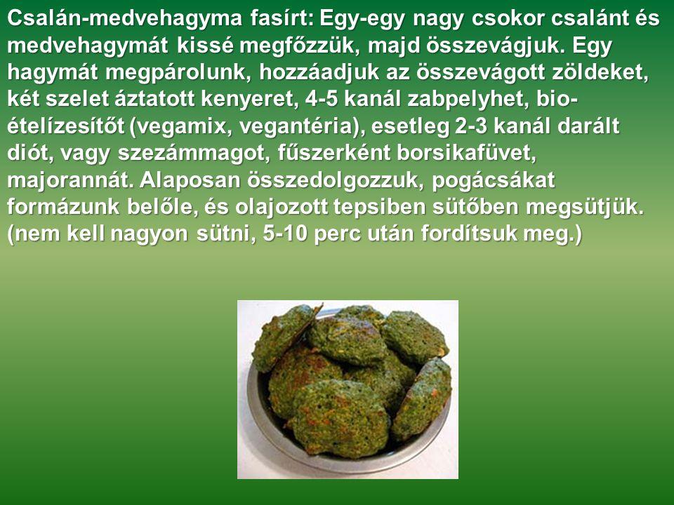 Csalán-medvehagyma fasírt: Egy-egy nagy csokor csalánt és medvehagymát kissé megfőzzük, majd összevágjuk. Egy hagymát megpárolunk, hozzáadjuk az össze