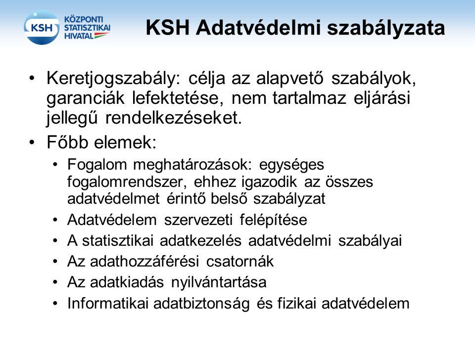 KSH Adatvédelmi szabályzata •Keretjogszabály: célja az alapvető szabályok, garanciák lefektetése, nem tartalmaz eljárási jellegű rendelkezéseket. •Főb