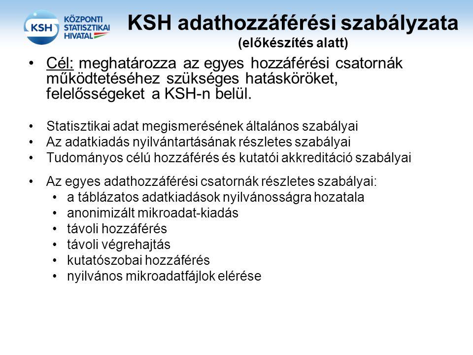 KSH adathozzáférési szabályzata (előkészítés alatt) •Cél: meghatározza az egyes hozzáférési csatornák működtetéséhez szükséges hatásköröket, felelőssé