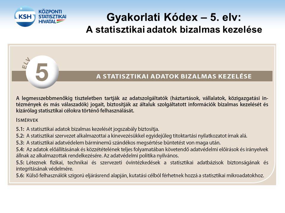 Adatvédelem jogi keretei a KSH-ban •223/2009/EK európai parlamenti és tanácsi rendelet az európai statisztikákról •557/2013/EU bizottsági rendelet a bizalmas adatokhoz való tudományos célú hozzáférés szabályairól •Magyarország Alaptörvénye VI.