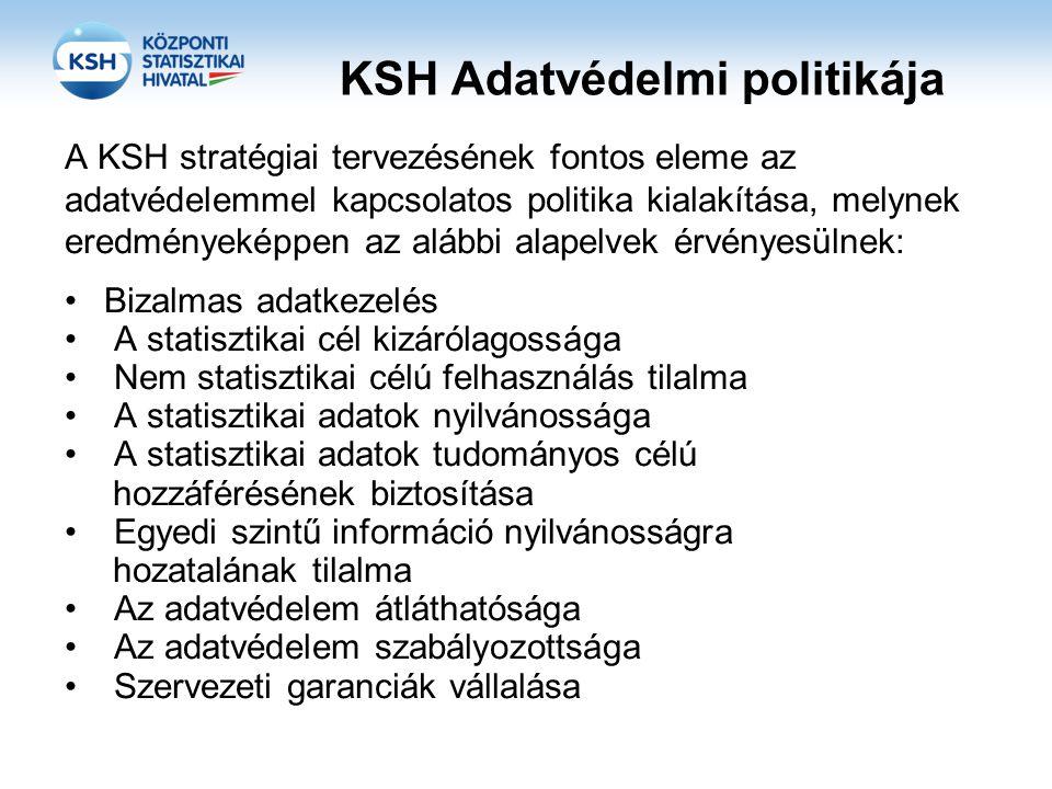 KSH Adatvédelmi politikája A KSH stratégiai tervezésének fontos eleme az adatvédelemmel kapcsolatos politika kialakítása, melynek eredményeképpen az a