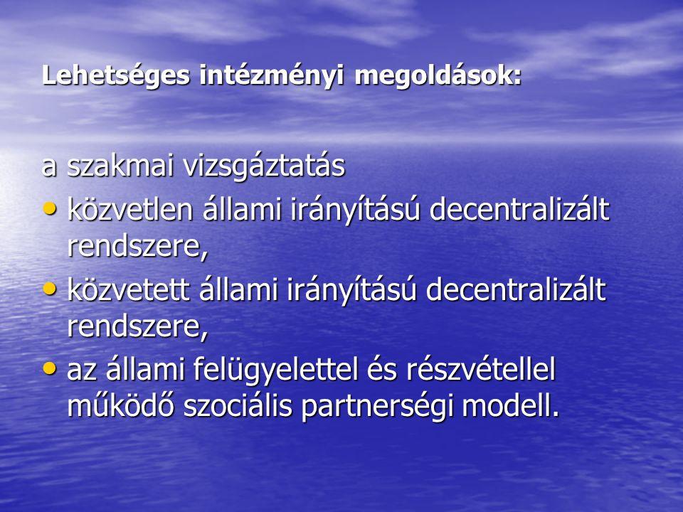 Lehetséges intézményi megoldások: a szakmai vizsgáztatás • közvetlen állami irányítású decentralizált rendszere, • közvetett állami irányítású decentralizált rendszere, • az állami felügyelettel és részvétellel működő szociális partnerségi modell.