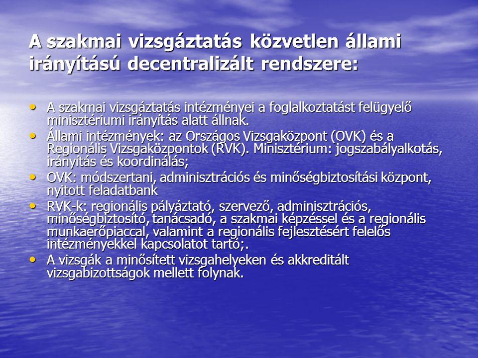 A szakmai vizsgáztatás közvetlen állami irányítású decentralizált rendszere: • A szakmai vizsgáztatás intézményei a foglalkoztatást felügyelő minisztériumi irányítás alatt állnak.
