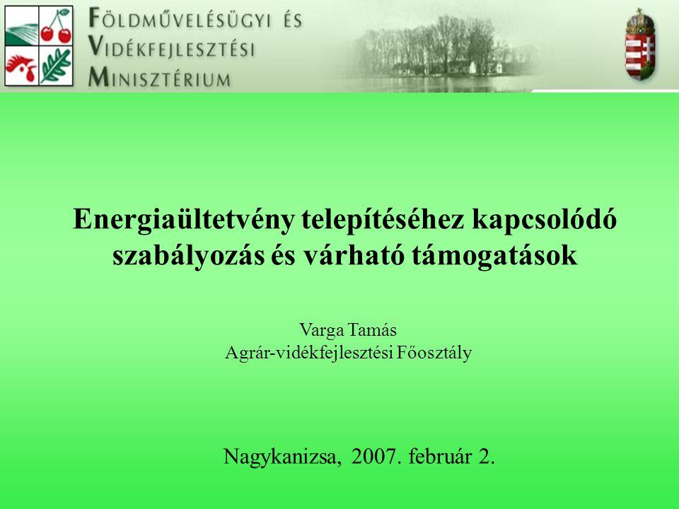Energiaültetvény telepítéséhez kapcsolódó szabályozás és várható támogatások Nagykanizsa, 2007. február 2. Varga Tamás Agrár-vidékfejlesztési Főosztál
