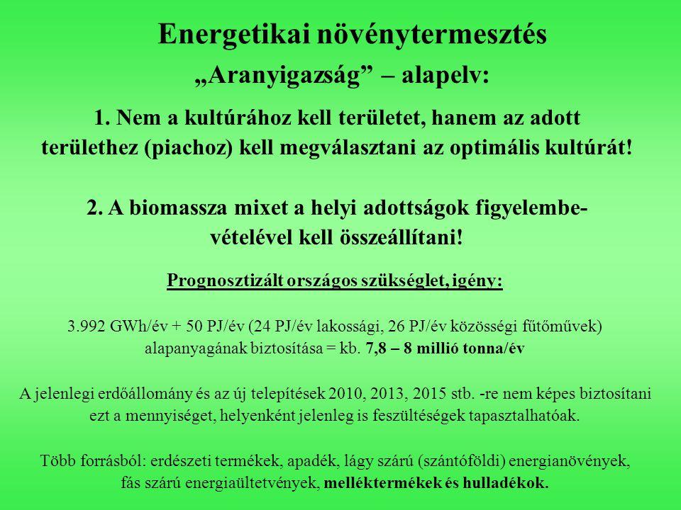 """Energetikai növénytermesztés """"Aranyigazság"""" – alapelv: 1. Nem a kultúrához kell területet, hanem az adott területhez (piachoz) kell megválasztani az o"""