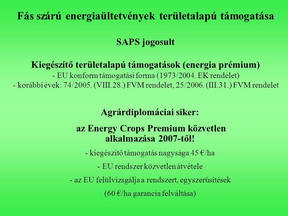 Fás szárú energiaültetvények területalapú támogatása SAPS jogosult Kiegészítő területalapú támogatások (energia prémium) - EU konform támogatási forma