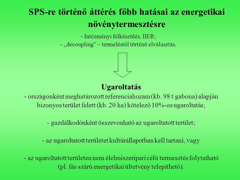 SPS-re történő áttérés főbb hatásai az energetikai növénytermesztésre Ugaroltatás - országonként meghatározott referenciahozam (kb. 98 t gabona) alapj