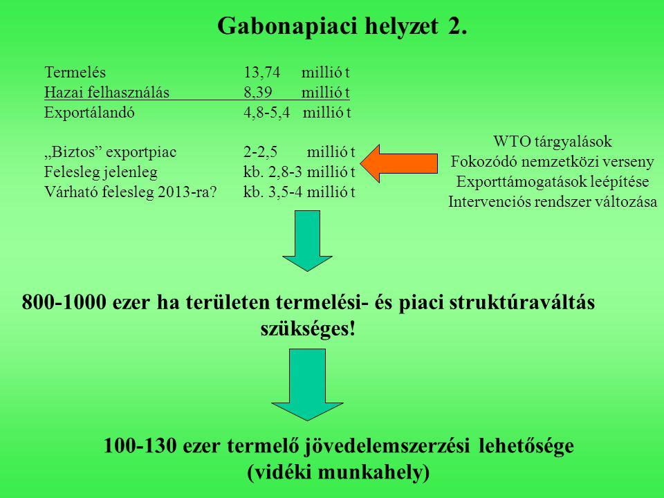 """Gabonapiaci helyzet 2. Termelés 13,74 millió t Hazai felhasználás 8,39 millió t Exportálandó4,8-5,4 millió t """"Biztos"""" exportpiac2-2,5 millió t Felesle"""