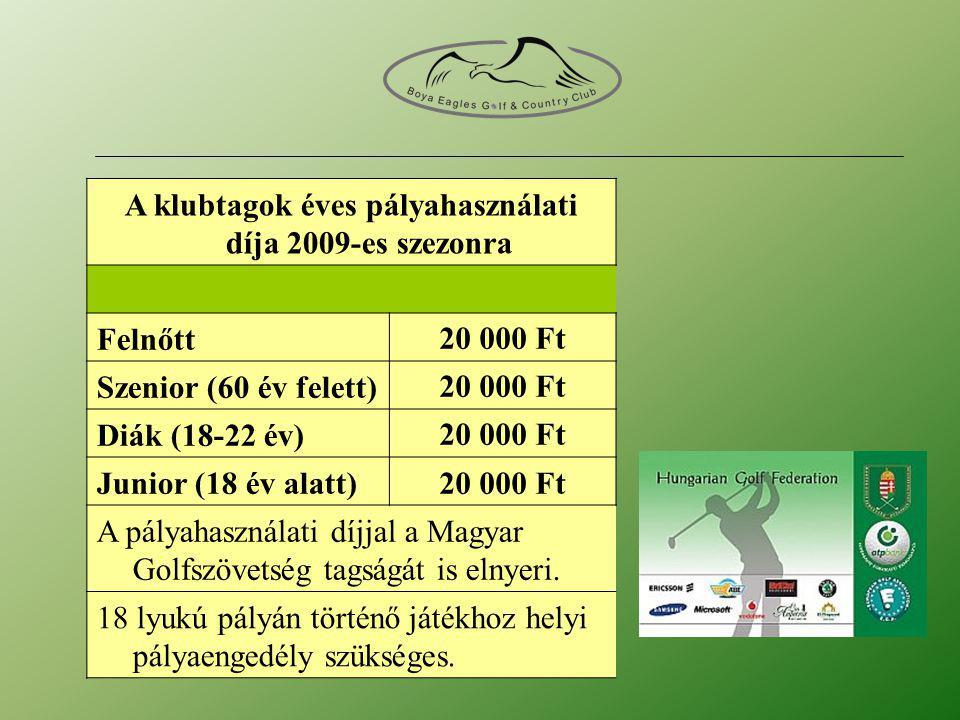 A klubtagok éves pályahasználati díja 2009-es szezonra Felnőtt20 000 Ft Szenior (60 év felett)20 000 Ft Diák (18-22 év)20 000 Ft Junior (18 év alatt)20 000 Ft A pályahasználati díjjal a Magyar Golfszövetség tagságát is elnyeri.