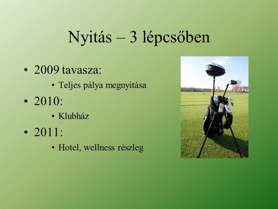Nyitás – 3 lépcsőben •2009 tavasza: •Teljes pálya megnyitása •2010: •Klubház •2011: •Hotel, wellness részleg