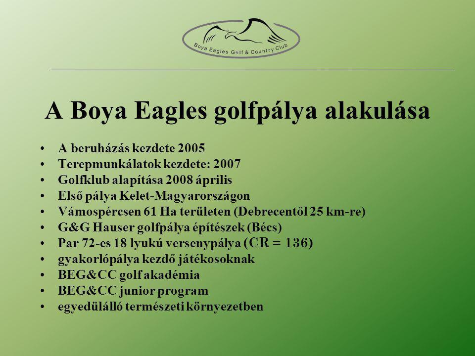 A Boya Eagles golfpálya alakulása •A beruházás kezdete 2005 •Terepmunkálatok kezdete: 2007 •Golfklub alapítása 2008 április •Első pálya Kelet-Magyarországon •Vámospércsen 61 Ha területen (Debrecentől 25 km-re) •G&G Hauser golfpálya építészek (Bécs) •Par 72-es 18 lyukú versenypálya (CR = 136) •gyakorlópálya kezdő játékosoknak •BEG&CC golf akadémia •BEG&CC junior program •egyedülálló természeti környezetben