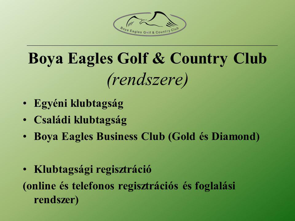 DIAMOND partner tagság lyuk névadó • Üzleti tagság oklevél : 25.000.000 HUF (egyszeri belépési díj, 10 éves részletfizetés lehetséges) • Éves díj 1.200.000 HUF –BEG&CC* klubtagsági kártyák –Magyar Golfszövetség tagsági kártyák –Handicap regisztráció •*Az éves pályahasználati díj 3 klubkártyát tartalmaz.