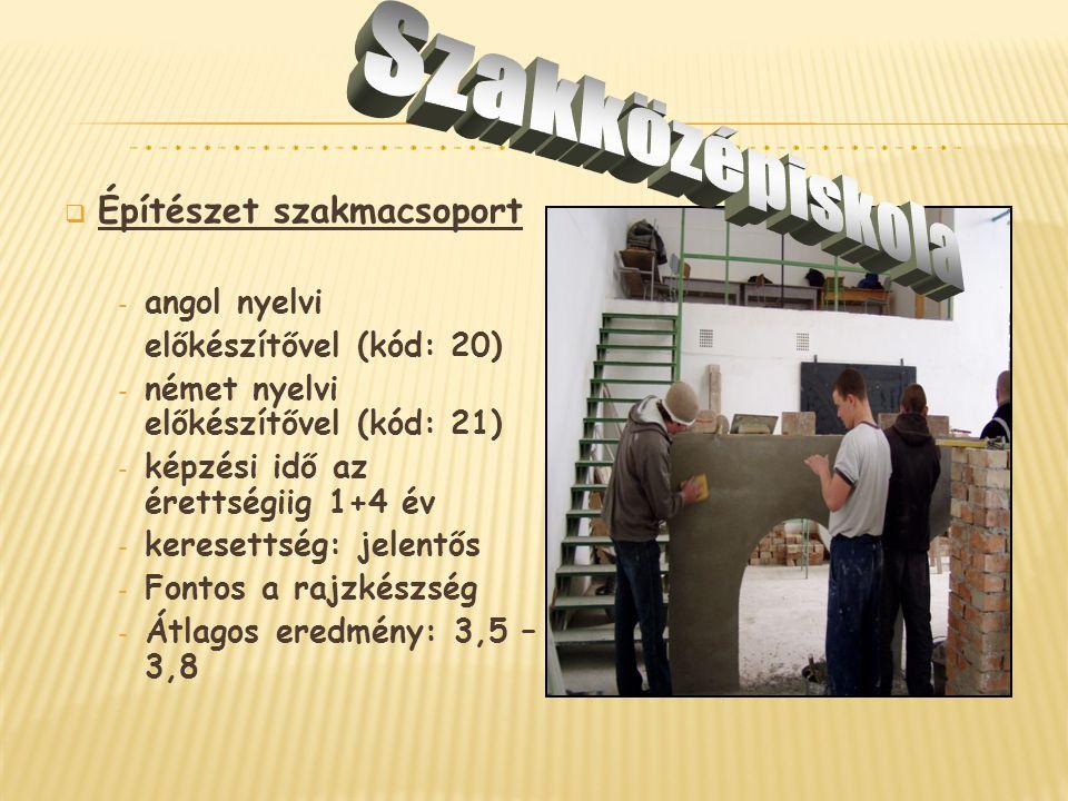  Építészet szakmacsoport - angol nyelvi előkészítővel (kód: 20) - német nyelvi előkészítővel (kód: 21) - képzési idő az érettségiig 1+4 év - keresett