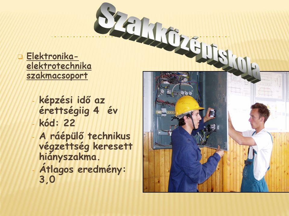  Elektronika- elektrotechnika szakmacsoport - képzési idő az érettségiig 4 év - kód: 22 - A ráépülő technikus végzettség keresett hiányszakma. - Átla