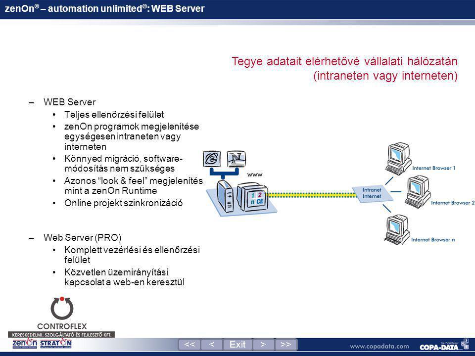 zenOn ® – automation unlimited © : WEB Server –WEB Server •Teljes ellenőrzési felület •zenOn programok megjelenítése egységesen intraneten vagy intern