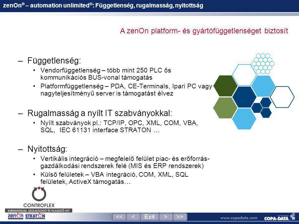 zenOn ® – automation unlimited © : Függetlenség, rugalmasság, nyitottság –Függetlenség: •Vendorfüggetlenség – több mint 250 PLC ős kommunikációs BUS-v