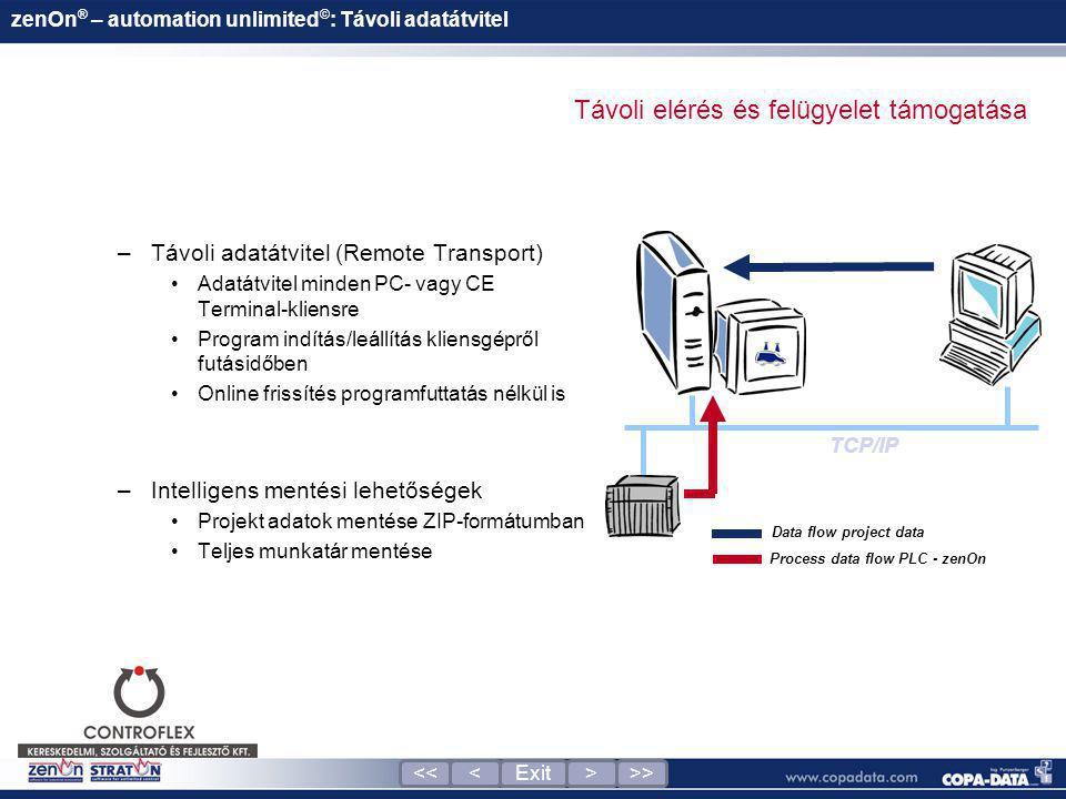 –Távoli adatátvitel (Remote Transport) •Adatátvitel minden PC- vagy CE Terminal-kliensre •Program indítás/leállítás kliensgépről futásidőben •Online f