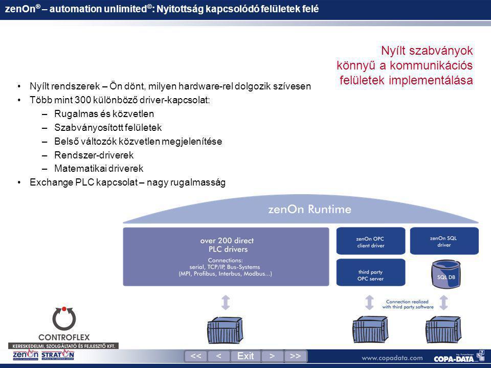 zenOn ® – automation unlimited © : Nyitottság kapcsolódó felületek felé •Nyílt rendszerek – Ön dönt, milyen hardware-rel dolgozik szívesen •Több mint