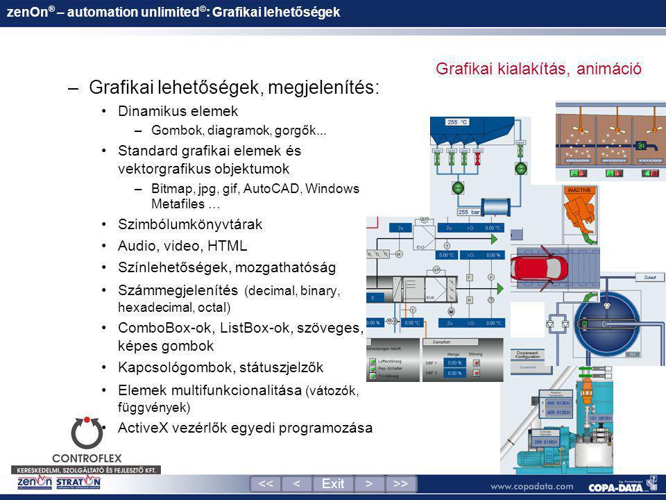 zenOn ® – automation unlimited © : Grafikai lehetőségek –Grafikai lehetőségek, megjelenítés: •Dinamikus elemek –Gombok, diagramok, gorgők... •Standard