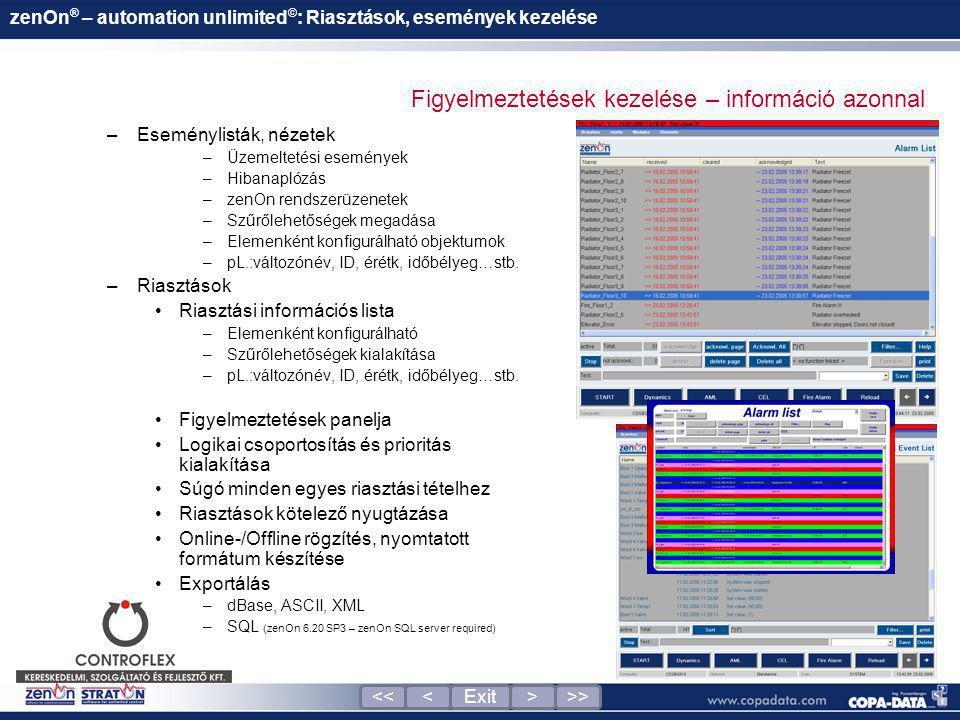 –Eseménylisták, nézetek –Üzemeltetési események –Hibanaplózás –zenOn rendszerüzenetek –Szűrőlehetőségek megadása –Elemenként konfigurálható objektumok