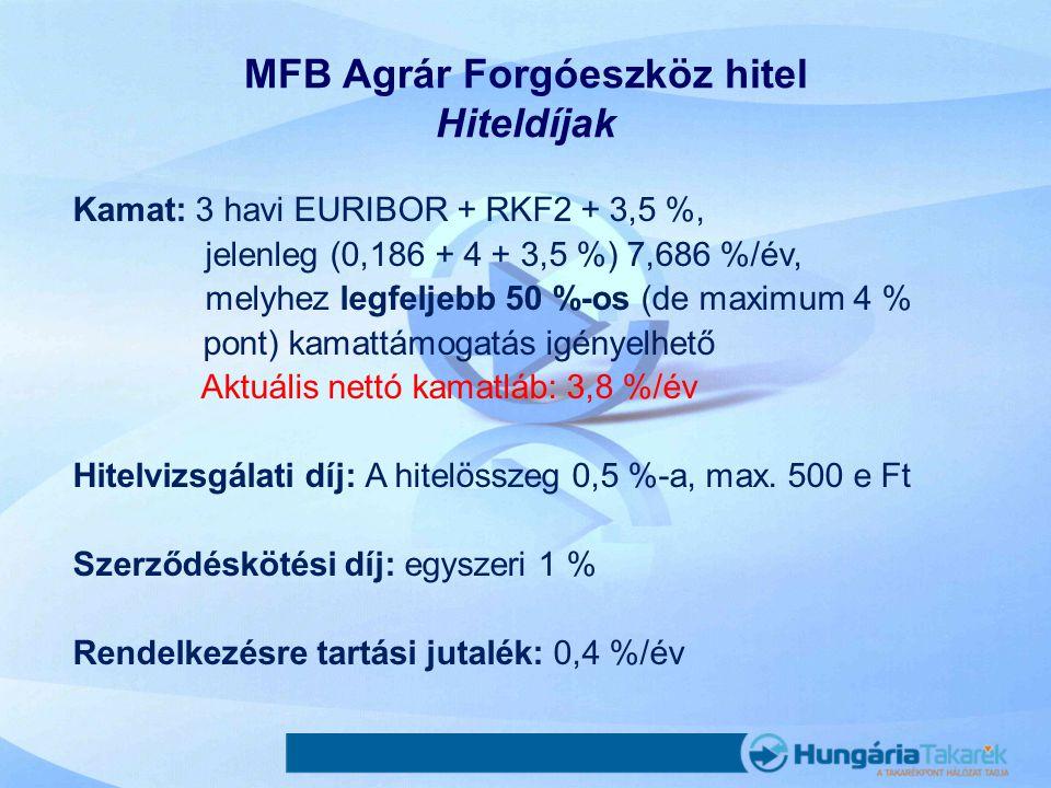 MFB Agrár Forgóeszköz hitel Hiteldíjak Kamat: 3 havi EURIBOR + RKF2 + 3,5 %, jelenleg (0,186 + 4 + 3,5 %) 7,686 %/év, melyhez legfeljebb 50 %-os (de m