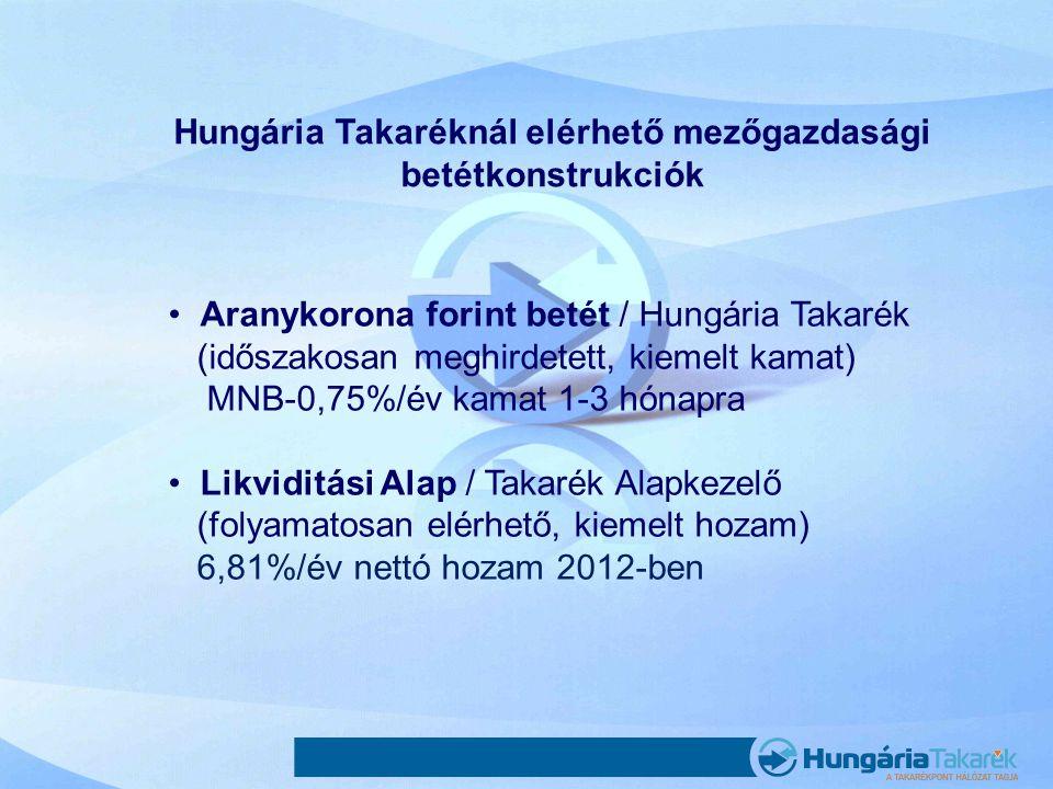 Hungária Takaréknál elérhető mezőgazdasági betétkonstrukciók •Aranykorona forint betét / Hungária Takarék (időszakosan meghirdetett, kiemelt kamat) MN