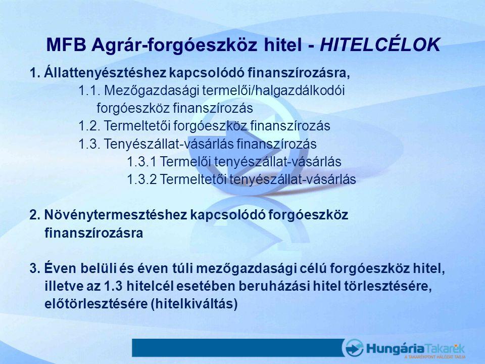 MFB Agrár-forgóeszköz hitel - HITELCÉLOK 1. Állattenyésztéshez kapcsolódó finanszírozásra, 1.1. Mezőgazdasági termelői/halgazdálkodói forgóeszköz fina