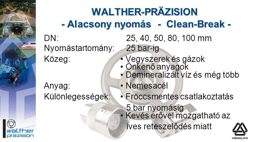 DN:25, 40, 50, 80, 100 mm Nyomástartomány:25 bar-ig Közeg:• Vegyszerek és gázok • Önkenő anyagok • Demineralizált víz és még több Anyag:• Nemesacél Kü