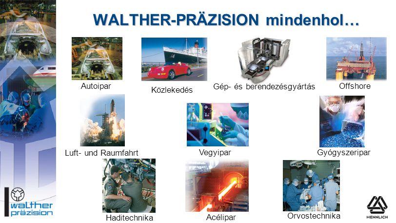 WALTHER-PRÄZISION mindenhol… Vegyipar Autoipar Gép- és berendezésgyártás Offshore Orvostechnika Acélipar Haditechnika Közlekedés Luft- und Raumfahrt G