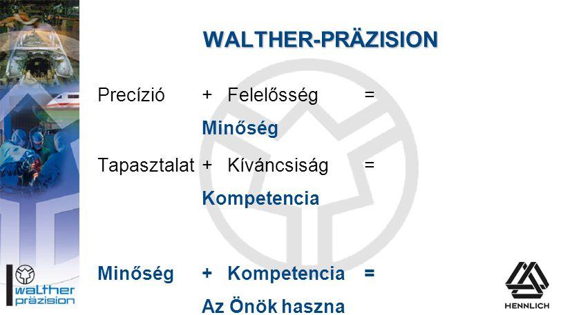 WALTHER-PRÄZISION Precízió+Felelősség = Minőség Tapasztalat+ Kíváncsiság = Kompetencia Minőség + Kompetencia= Az Önök haszna