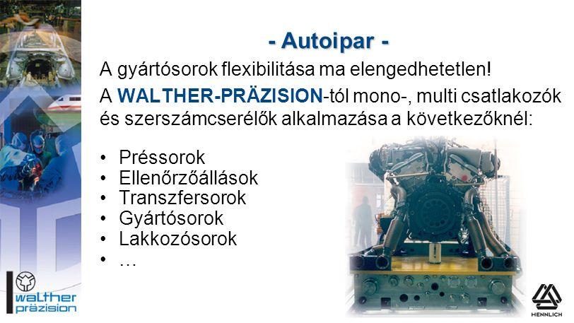 - Autoipar - A gyártósorok flexibilitása ma elengedhetetlen! A WALTHER-PRÄZISION-tól mono-, multi csatlakozók és szerszámcserélők alkalmazása a követk