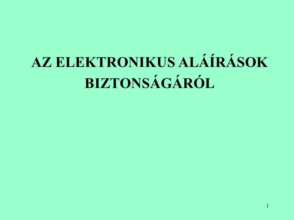 31 Elektronikus aláírás készítésének és ellenőrzésének folyamata Elektronikus irat készítése Lenyomat készítése Lenyomat magán kulcs aláírás-létrehozó adat nyilvános kulcs aláírás-ellenőrző adat Elektronikus aláírás Kódoló algoritmus Dekódoló algoritmus Elektronikus irat megtekintése/ további feldolgozása Aláíró alkalmazás indítása Ellenőrző alkalmazás Tanúsítvány Hiteles, érvényes.