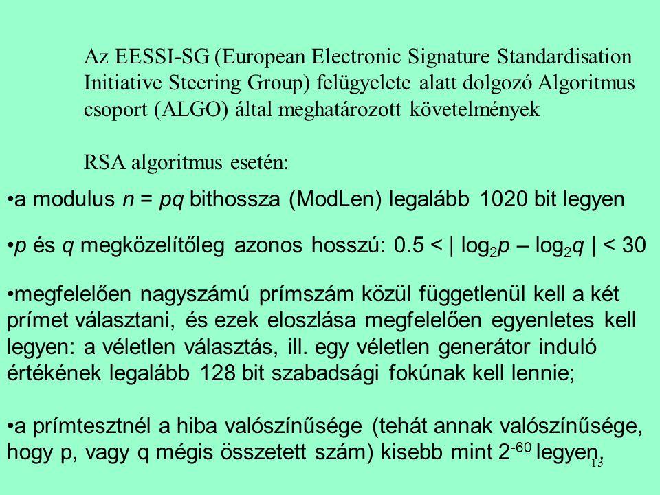12 R. S. A. moduláris hatványozás m: modulus, m=p*q e:nyilvános kulcs d: titkos kulcs Az m javasolt mérete Faktorizálási fordulópontok 512 3 M prím 76