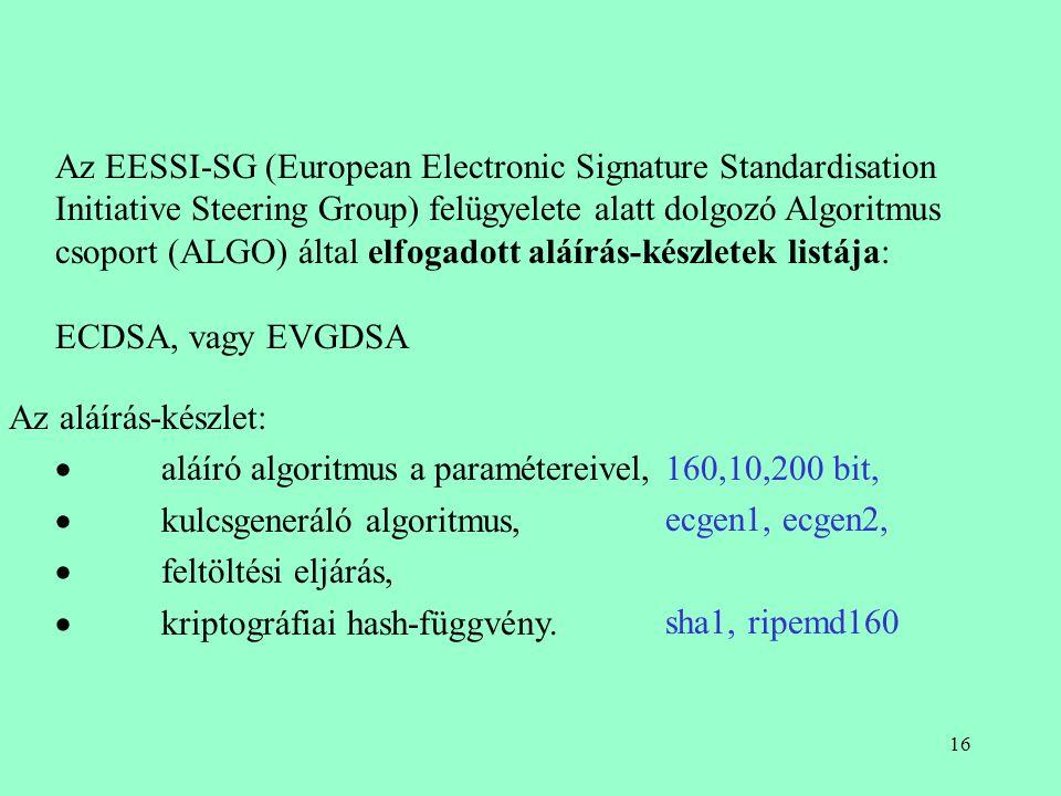 15 Az EESSI-SG (European Electronic Signature Standardisation Initiative Steering Group) felügyelete alatt dolgozó Algoritmus csoport (ALGO) által elf
