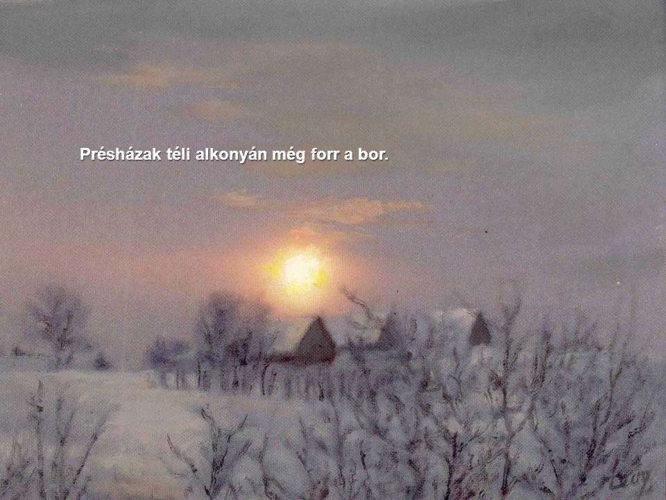 A reggeli nap sugarai a domb fölé érve havas fenyőket simogatnak.
