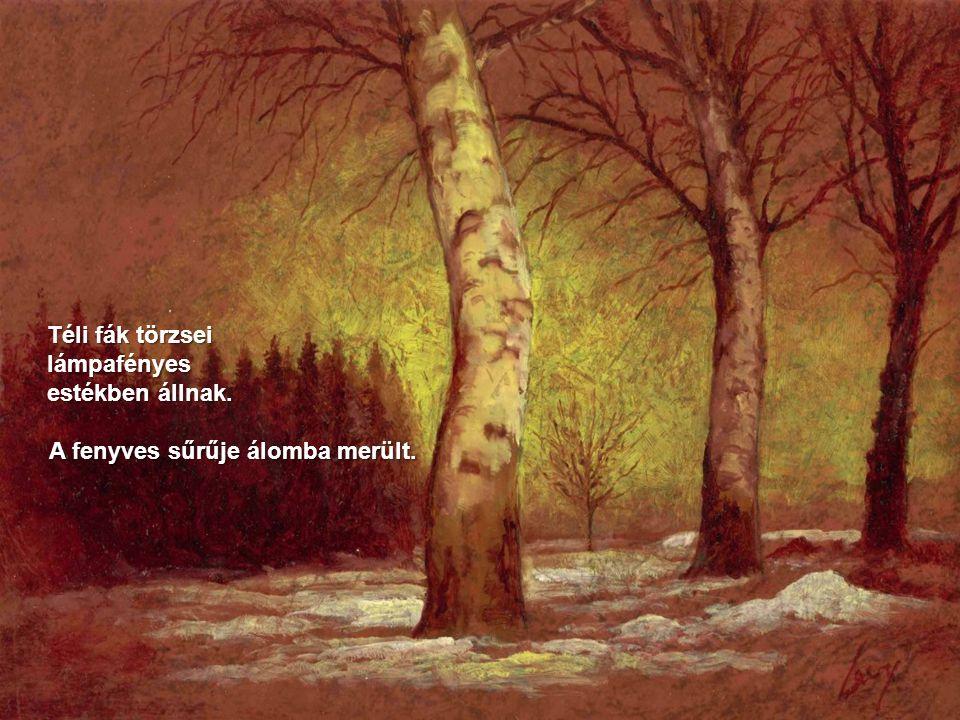 A parton két barát, mint szobor áll a fák között.