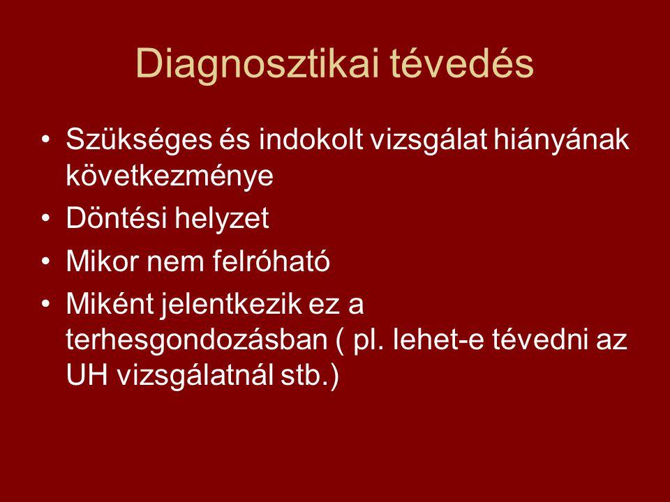 Diagnosztikai tévedés •Szükséges és indokolt vizsgálat hiányának következménye •Döntési helyzet •Mikor nem felróható •Miként jelentkezik ez a terhesgo