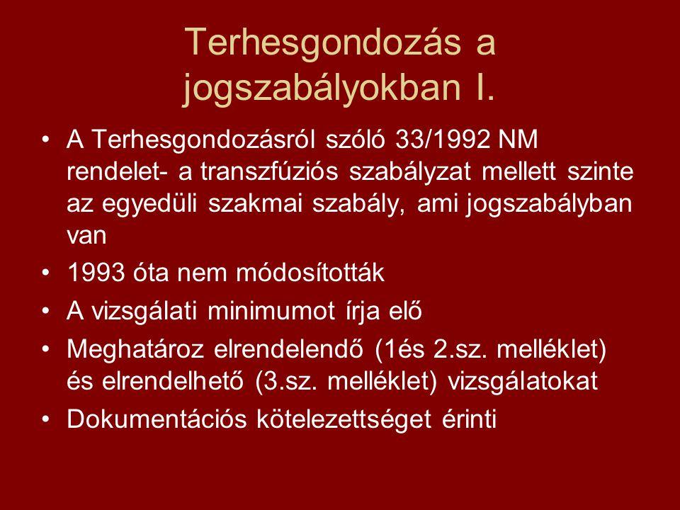 Terhesgondozás a jogszabályokban I. •A Terhesgondozásról szóló 33/1992 NM rendelet- a transzfúziós szabályzat mellett szinte az egyedüli szakmai szabá