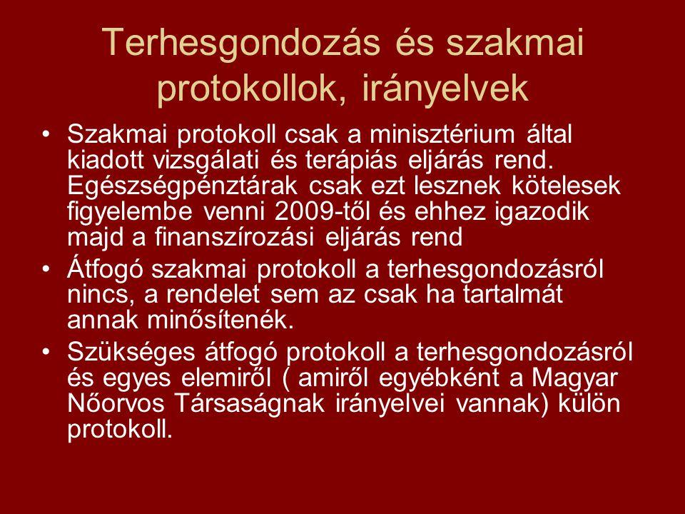 Terhesgondozás és szakmai protokollok, irányelvek •Szakmai protokoll csak a minisztérium által kiadott vizsgálati és terápiás eljárás rend. Egészségpé