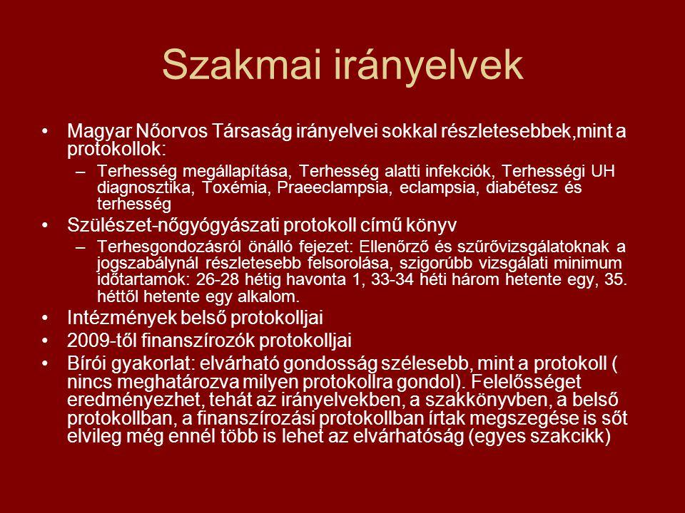 Szakmai irányelvek •Magyar Nőorvos Társaság irányelvei sokkal részletesebbek,mint a protokollok: –Terhesség megállapítása, Terhesség alatti infekciók,