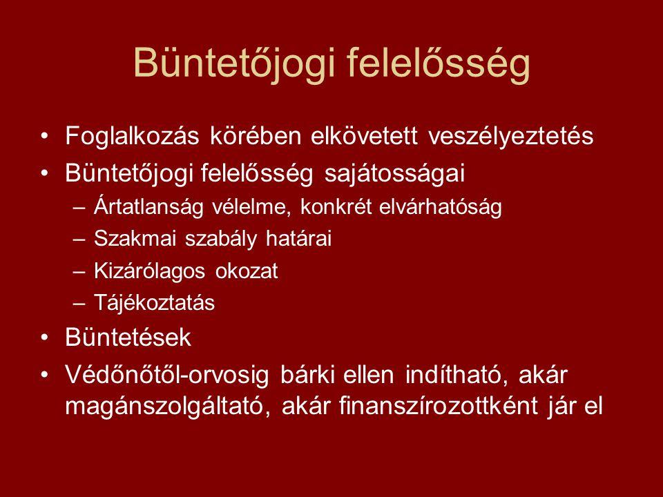 Működési felelősség •Szakmai minimumfeltételek /60/2003 ESzCsM rendelet) –Általános szülészet-nőgygóyászat (amniocentézis, chorionboholy vizsgálat, mint terhesgondozási lépés) –Genetikai tanácsadás –Körzeti védőnői tevékenység –IVF –Terhesgondozás önálló minimumfeltételei.