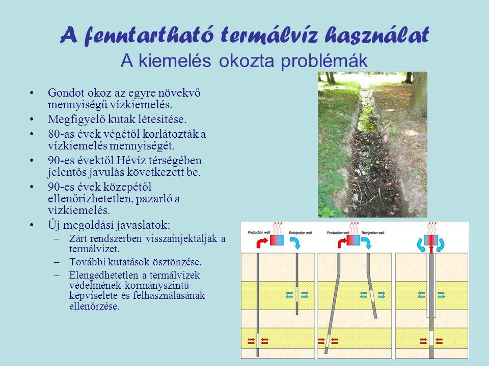 A fenntartható termálvíz használat A kiemelés okozta problémák •Gondot okoz az egyre növekvő mennyiségű vízkiemelés.
