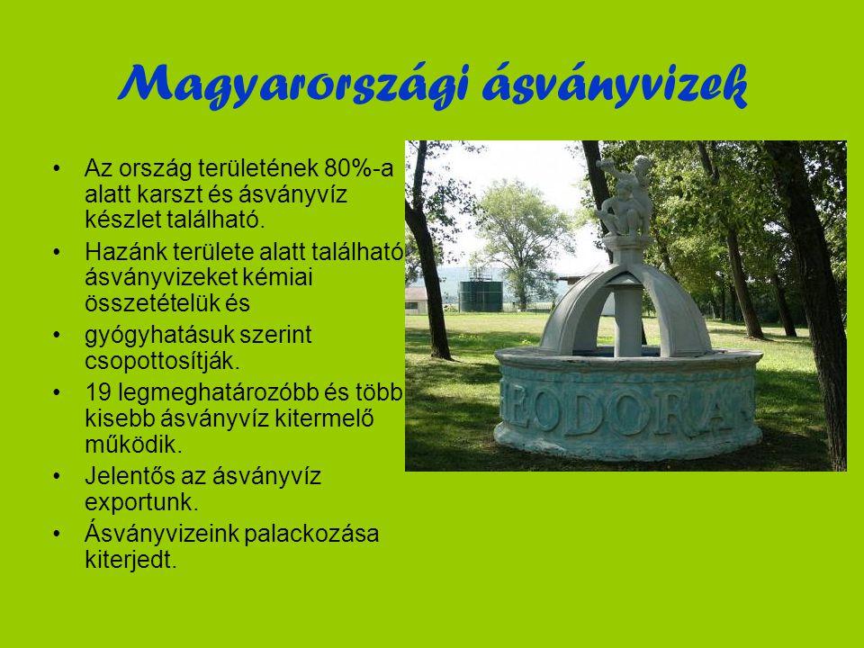 Magyarországi ásványvizek •Az ország területének 80%-a alatt karszt és ásványvíz készlet található.