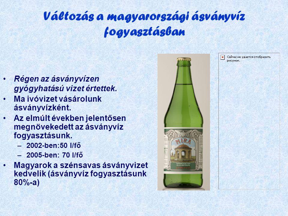 Változás a magyarországi ásványvíz fogyasztásban •Régen az ásványvízen gyógyhatású vizet értettek.