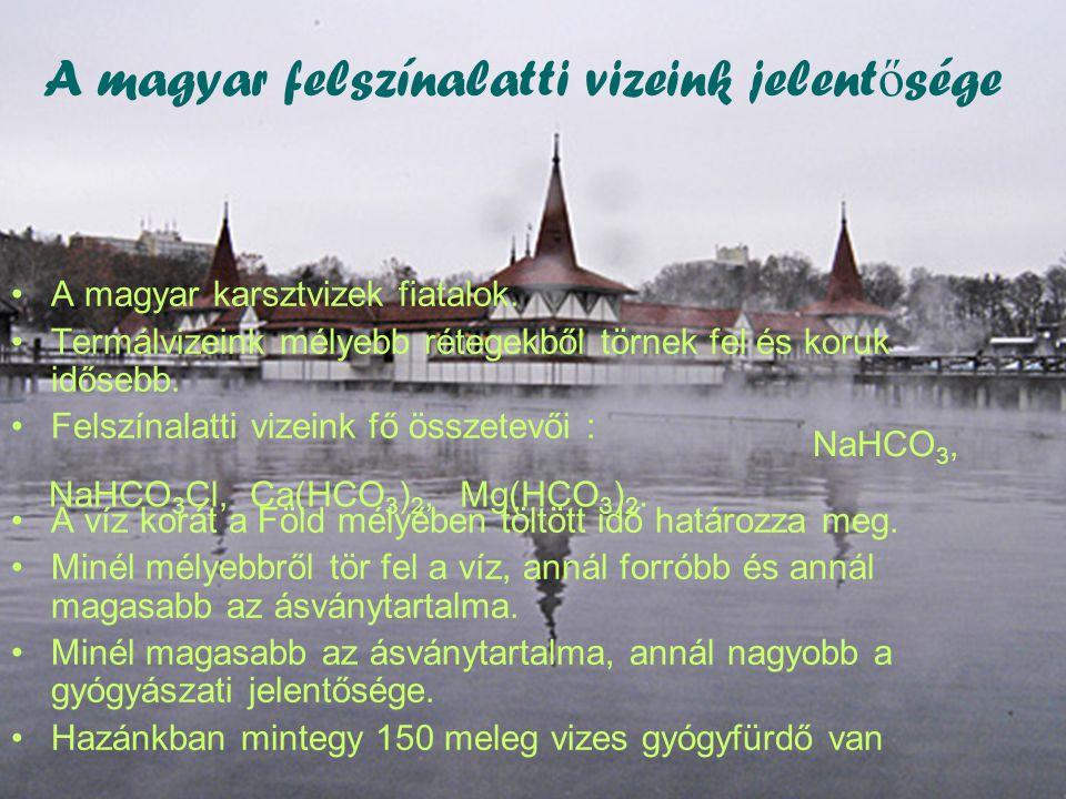 A magyar felszínalatti vizeink jelent ő sége •A magyar karsztvizek fiatalok.