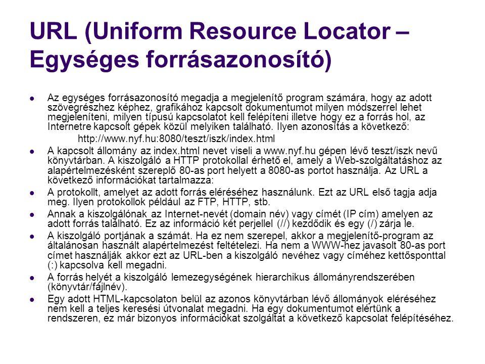 URL (Uniform Resource Locator – Egységes forrásazonosító)  Az egységes forrásazonosító megadja a megjelenítő program számára, hogy az adott szövegrés
